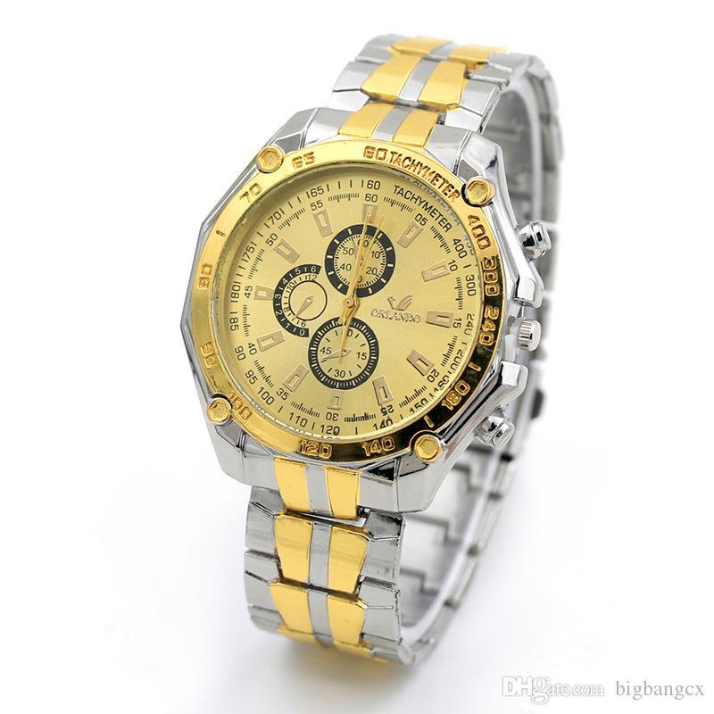 Compre Relojes De Cuarzo Analógico De Acero De Moda Para Hombres ORLANDO  Relojes De Cuarzo De Tres Hombres De Seis Puntas Reloj De Pulsera De  Negocios ... b5be171bf454