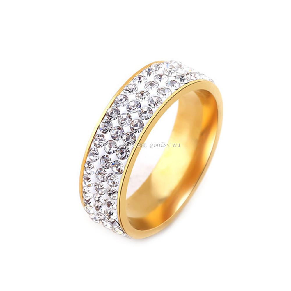 Luxury Wedding Rings For Women 3 Rows Stainless Steel Crystal Cz