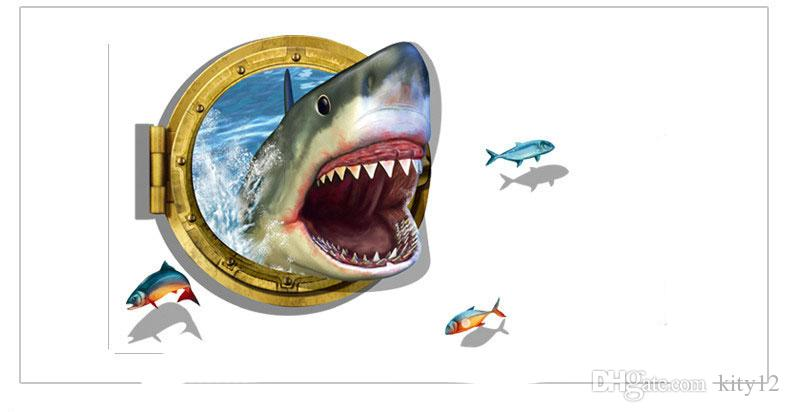 3D Visual Effects Shark Wall Art Stickers Decor Home Decoration Size 90cm*60cm DIY Design Reflects The Personality
