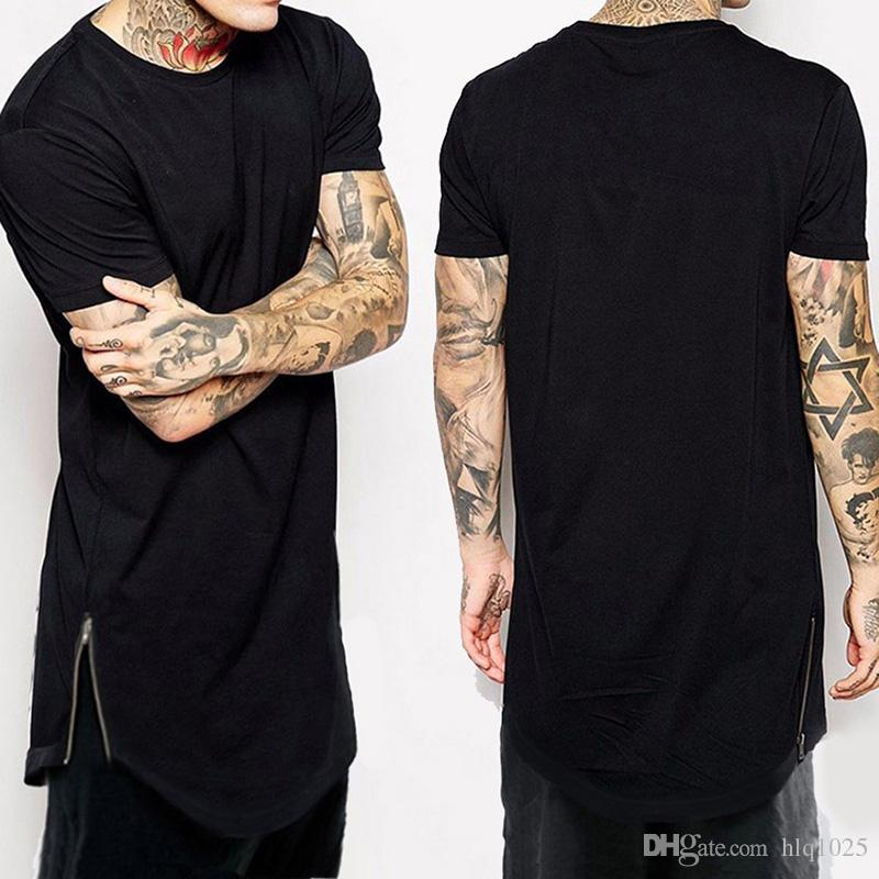 New Clothing Mens Black Long T Shirt Zipper Hip Hop Longline Extra Long  Length Tops Tee Tshirts For Men Tall T Shirt Tna Shirts Humorous Tee Shirts  From ... bc6a99d0399