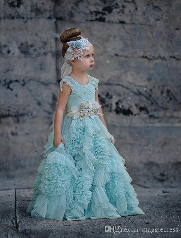 2017 beautiful Cheap Ruffles Flower Girls Dresses For Weddings Crystal Jewel Neck Kids Formal Wear Floor Length Girl's Pageant Dress