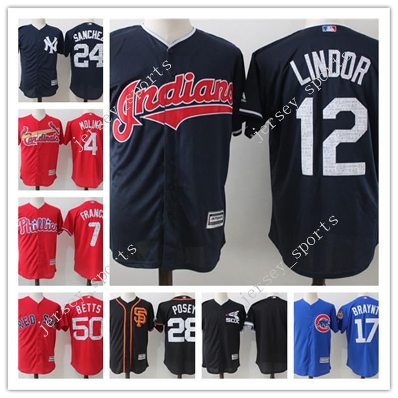 359eeed09c6 ... 2017 Cleveland Indians 12 Francisco Lindor MenS Mlb Baseball Jerseys  100% Stitched 2017 Spring Training ...