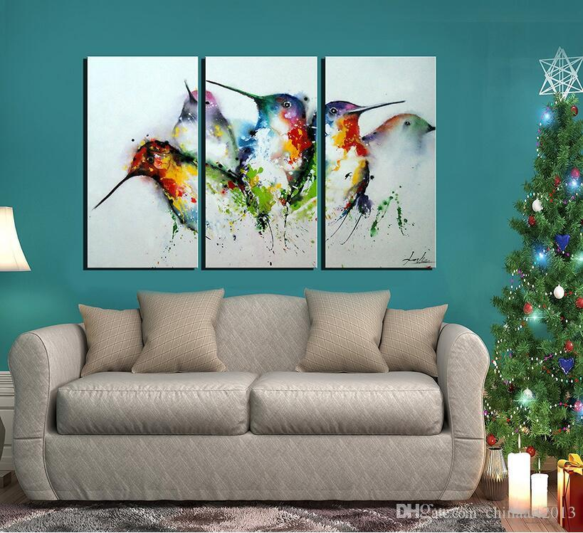 "100% Hand Painted Unframed Wall Art ""Colorful Birds"" 3-Piece Animal Oil Painting on Canvas for Living Room Artwork for Wall Decor"