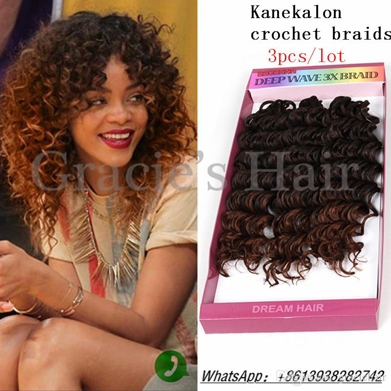 2018 Deep Wave Synthetic Hair Extension Freetress Crochet Kinky ...