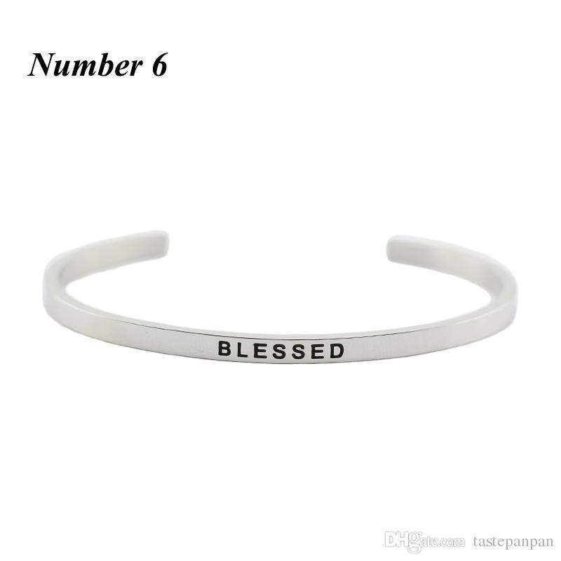 Nouvelle arrivee! Acier inoxydable 316L en acier inoxydable gravé positif citation d'inspiration de bracelet mantra bracelet bracelet pour femmes hommes
