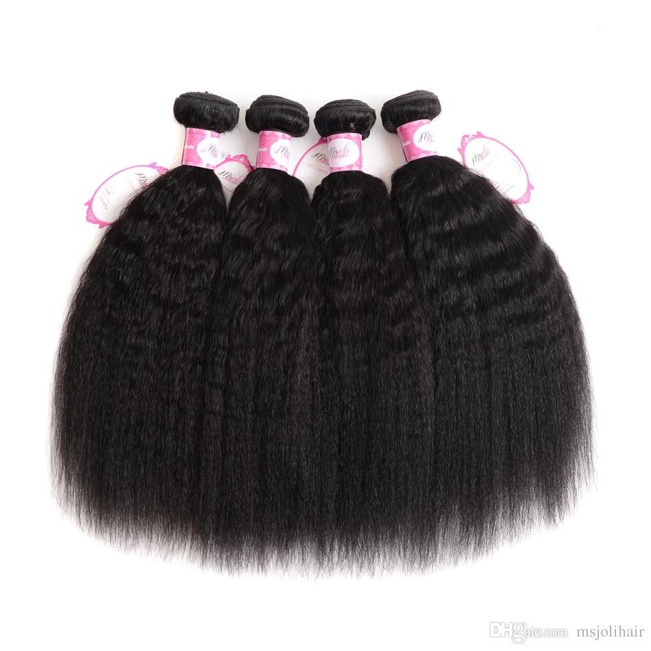 İnsan Saç Atkı Kapatma ile 13x4 Frontal Kulağa Hint doğal İşlenmemiş Saç Sapıkça Düz Yaki Saç Örgü 3 Demetleri Frontal