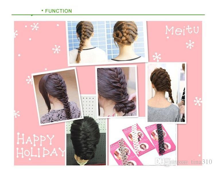 Atacado-Fashion Hair Braiding Ferramenta trança de cabelo rolo com cabelo mágico torção Styling cabelo Braiders para WomenGirls A0478