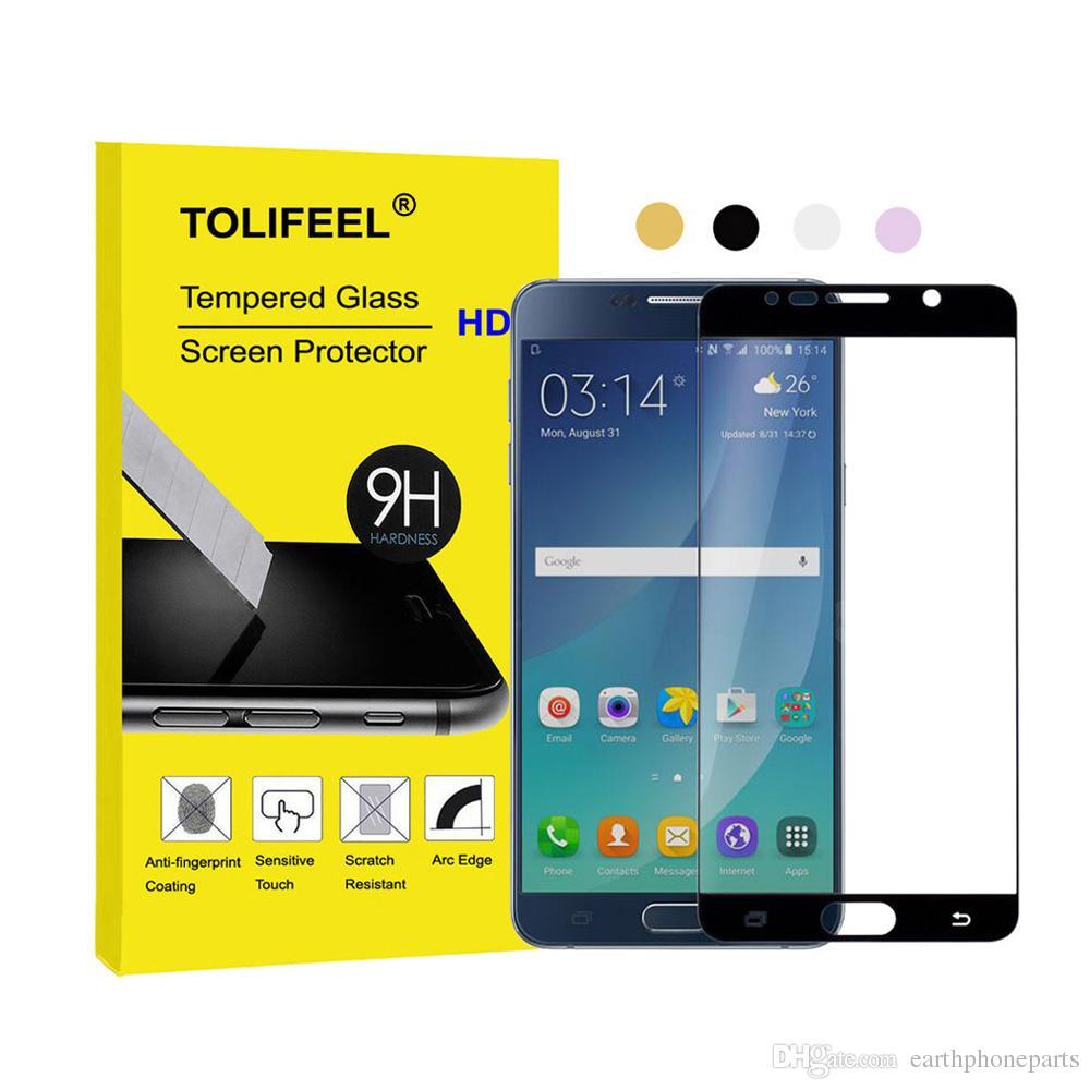 77c8ab4eba1 Protector D Pantalla Para Celular Vidrio Templado 9H Para Samsung Galaxy  Note 5 Note5 Película Protectora De La Cubierta Completa De Superficie  Curvada Para ...