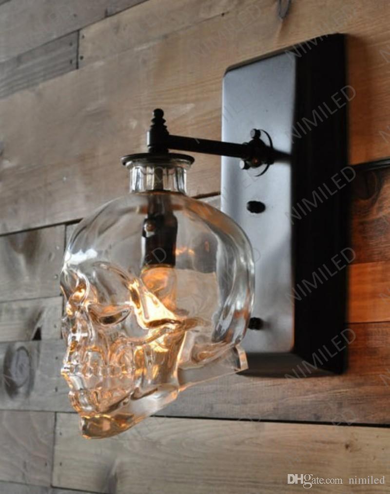2018 Nimi602 Loft Personality Industrial Iron+Glass Retro Bar Outdoor Wall  Lamp Skull Wall Sconce Lights Hotel Ktv Bedroom Living Room Lighting From  Nimiled ...