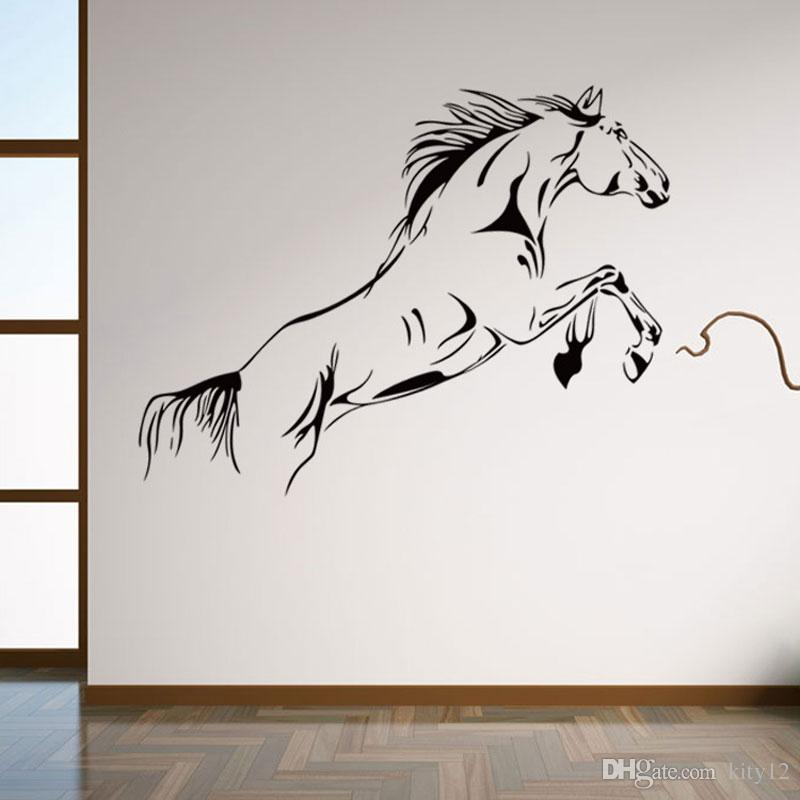 Karikatür Koşu At Duvar Çıkartmaları Çıkarılabilir Vinil Odası Çıkartması Sanat Mural Ev Dekor Duvar Kağıdı ücretsiz kargo