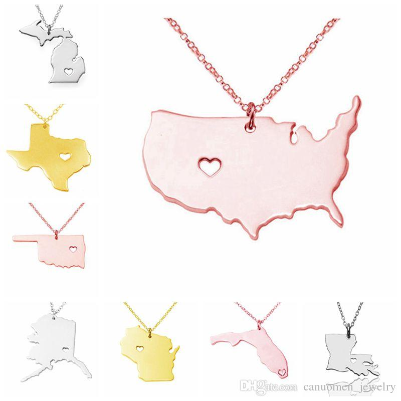 Wholesale Us State Map Pendant Necklace Stainless Steel Rose Gold - Us state map