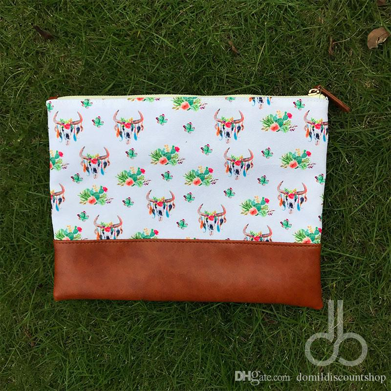 Wholesale Blanks Canvas and PU Bullskull Cactus Printing Comsetic Bag Makeup bag Women Clutch DOM103657