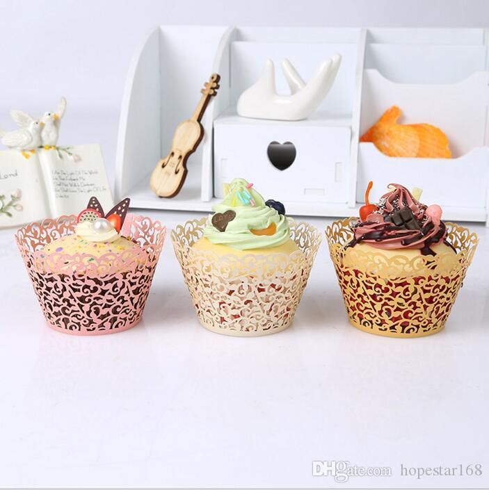 Laser Cut Hollow Cupcake Wrap Filigree Vine Paper Cake Wrappers Baking Tools for Wedding Birthday Party Festival Supplies