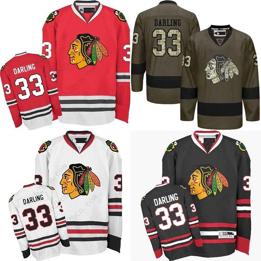 64a16abcf 2019 2017 Men S Chicago Blackhawks  33 Scott Darling 2017 Winter Classic  Premier Red White Away Black 1917 2017 100th Anniversary Jersey From B2bcn