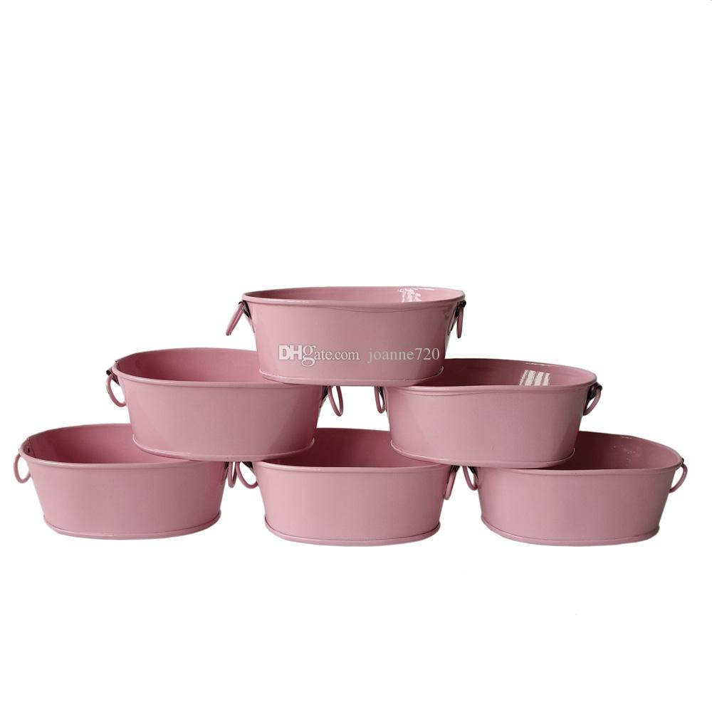 Wholesale Pink Small Favor Pail Metal Oval Succulent Pots Balcony ...