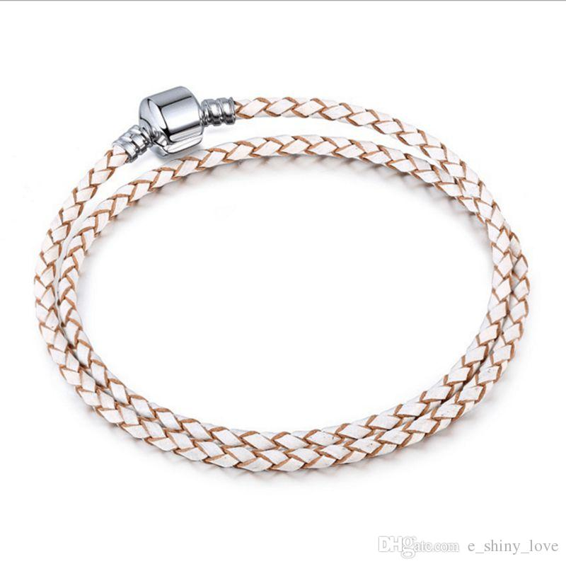 Real Leather Snake Chain 3mm Copper stamped Clip Bracelet Fit European Charms beads DIY Jewllery Making 34cm - 42cm
