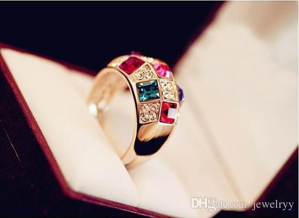 Роскошные 2017 красочные Австрия Кристалл кольцо женщины горный хрусталь кластера кольцо для свадьбы ювелирные изделия