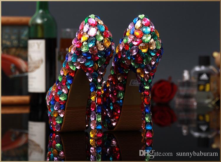 Luxury Colorful Gems Women High Heels Cinderella Shoes Wedding Bridal Bridesmaid Shoes Prom Evening Night Club Party High Heel 10/12/14 cm