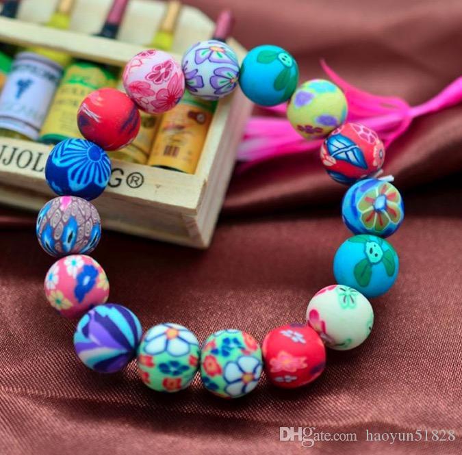 Moda pulseiras de argila do polímero frete grátis, atacado boêmio frisado pulseiras, presente do miúdo