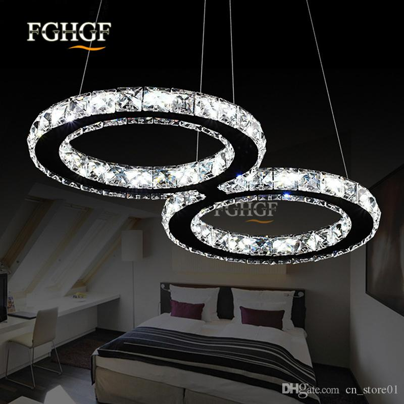 Modern Chrome Crystal Chandelier Light S Shape Diamond Ring LED Lamp Stainless Steel Hanging Light Fixtures Adjustable Lustres