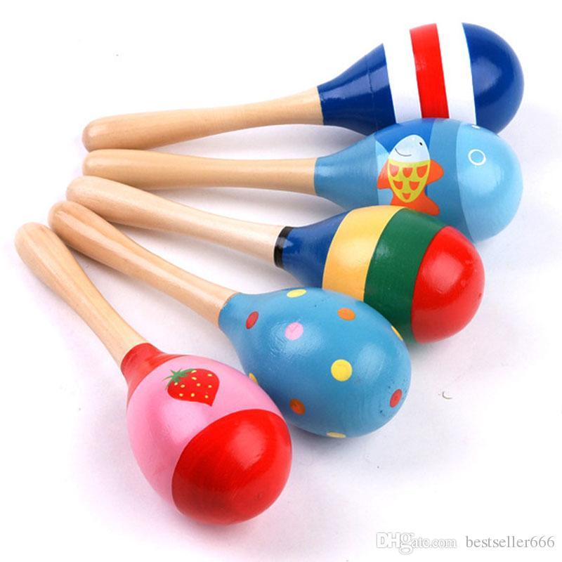 Lager Lustiges spielzeug Heißer Verkauf Baby Holzspielzeug Rassel Baby niedlich Rassel spielzeug Orff musikinstrumente Lernspielzeug