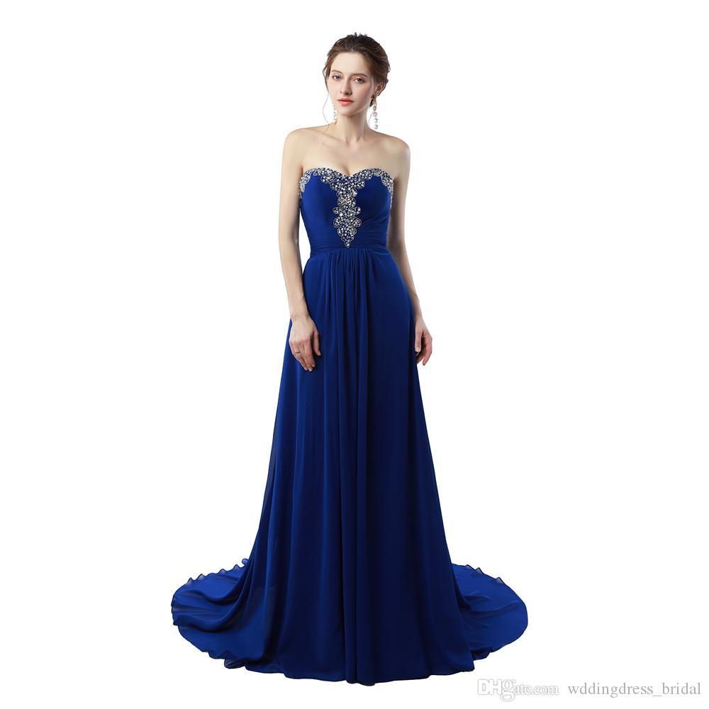 3bb0f401b Vestidos de fiesta largos Vestidos Do Baile De Finalistas 2019 Vestidos de  fiesta de gasa azul real Vestidos de noche baratos hechos en China
