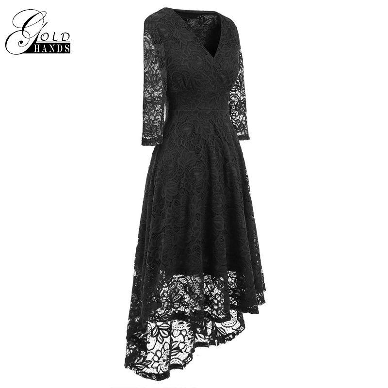 62acd38bac Women Fashion Lace Dress Autumn Three Quarter Sleeve Lace Solid ...
