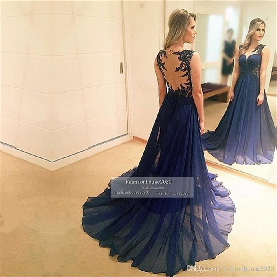 Dark Navy Blue Chiffon Long Evening Dresses Scoop Neck Appliques Sheer Illusion Tulle Back Cheap Formal Evening Gowns Red Carpet Dress
