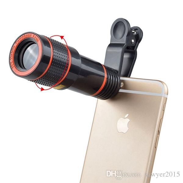 Universal Clip On 12X Telephoto Lens Mobile Phone Optical Zoom Telescope Camera lens For iPhone Samsung smartphone