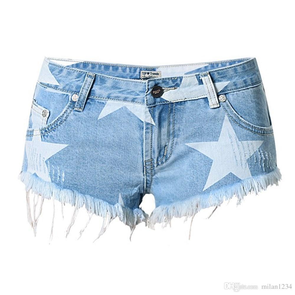 Hot star print blue denim shorts women Casual ripped hole vintage fringe jeans short pants