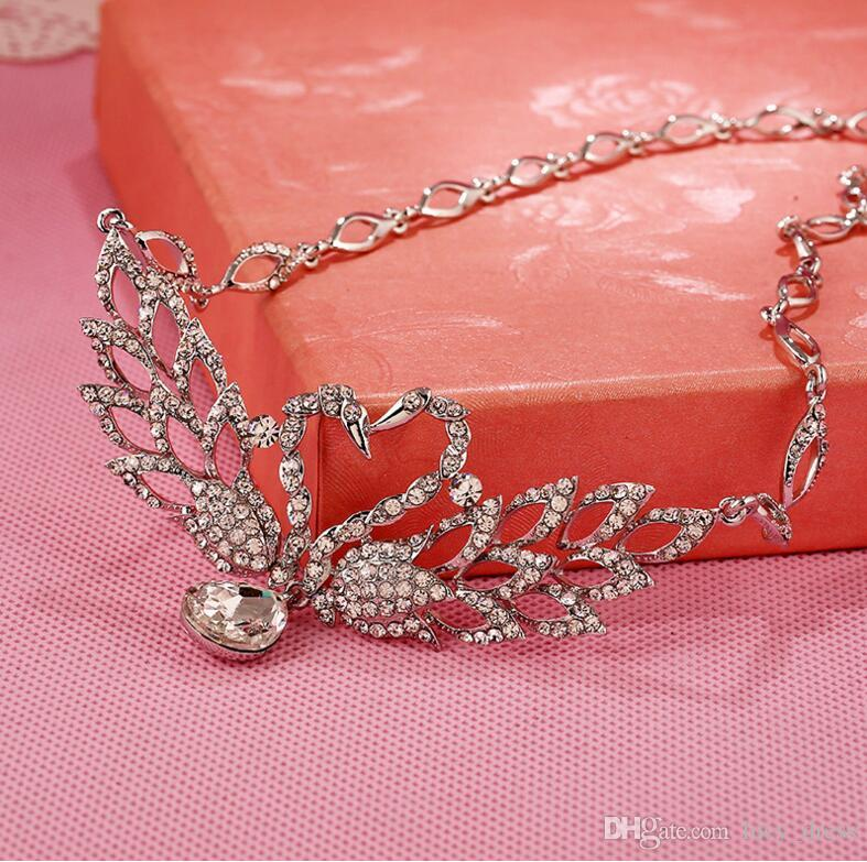 Wedding Bride Jewelry Accessaries Set Crown+Earring + Necklace Crystal Leaves Design LDRESS69