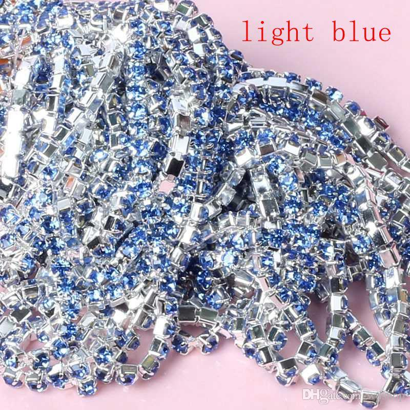 Wholesale 2mm-3mm 10 YardsSilver Base Claw Rhinestone Chain Multicolor Sew On Garment Jewelry Bag Shoes Accessories Crystal Chains