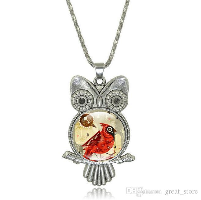 Brand new New jewelry gemstone necklace cute cartoon owl necklace sweater chain WFN375 with chain a