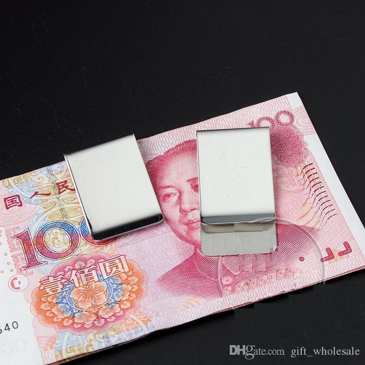 20 UNIDS / LOTE Monedero de Acero Inoxidable Creativo Dinero Clip de Tarjeta de Crédito Money Holder Mens Regalo 26 * 50 * 0.8mm