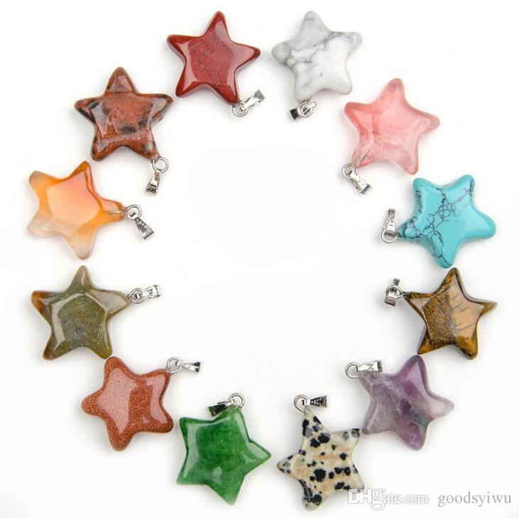 Fashion Assorted 20mm Crystal Quartz Healing Point Nature Star Shape Gem-Bead Stone Pendant opal Turquoise Tiger Eye mixed colors
