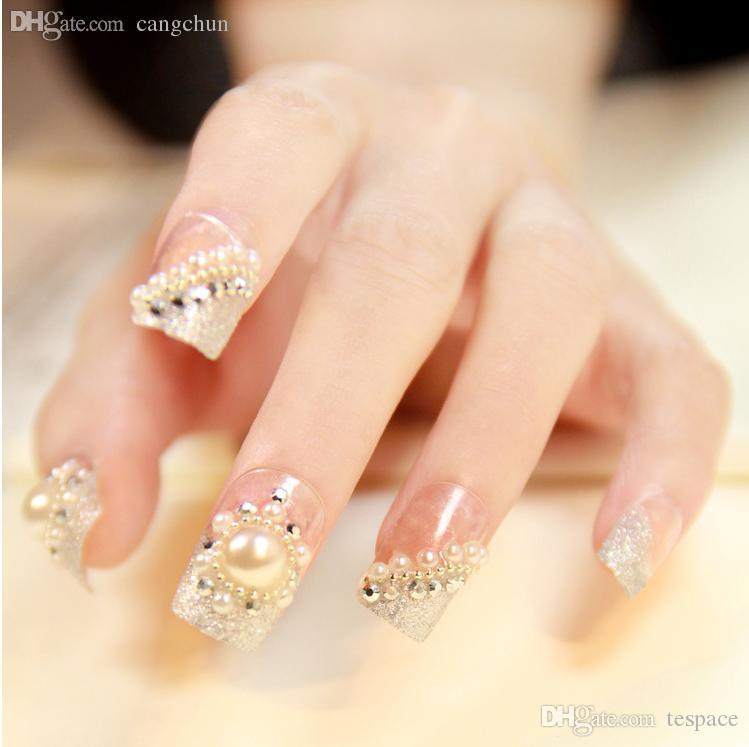 Wholesale Luxury French Pearl False Nails Glue On Fingernails Fashion Wedding Party Club Beauty Fake Nail Art Tips Stickers Tools Toenails Gel