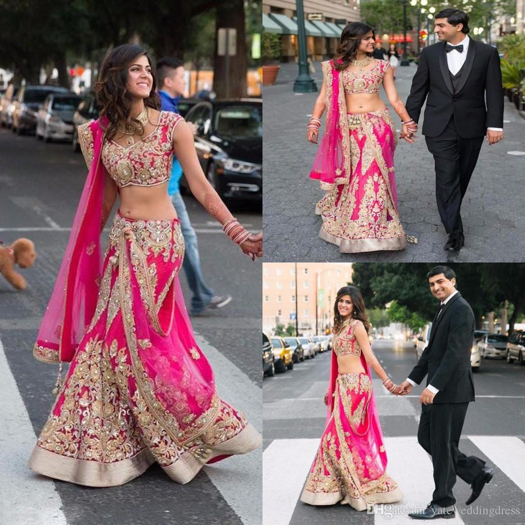 2k17 Indian Two Pieces Evening Dresses With Gold Applique Hot Pink ...