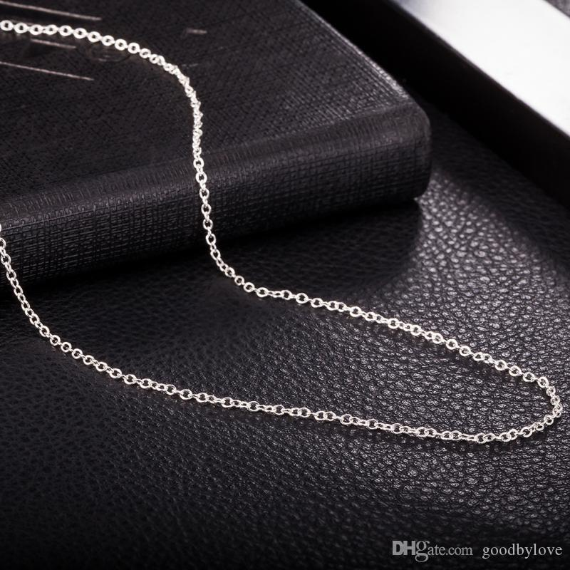 "Pure 925 Sterling Silver 1MM Slim Thin 45cm 18"" Cross Rolo Chain Necklace Fashion Collares Jewelry Bijoux for Women Girls"