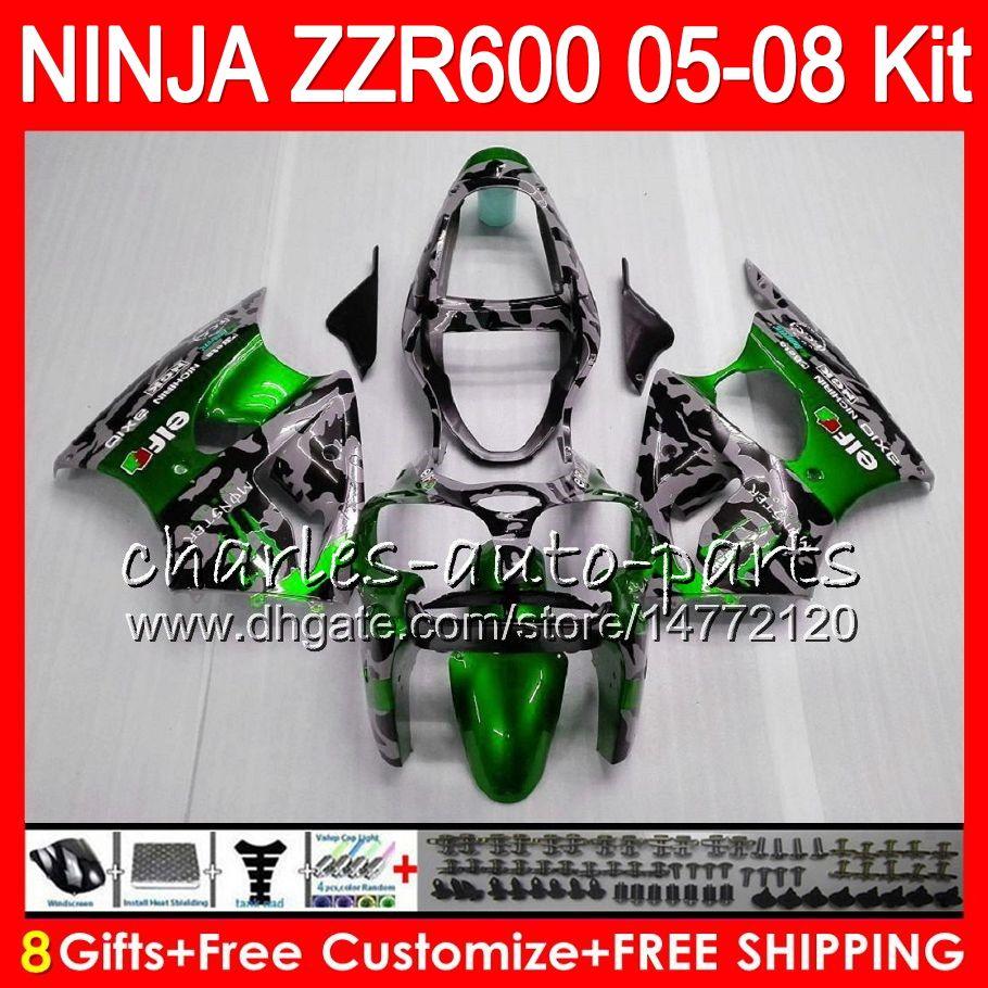 8Presentes 23Cores Corpo Para KAWASAKI NINJA ZZR 600 05 06 07 08 32NO95 600CC Camuflagem ZX600 ZZR600 05 ZZR-600 2005 2006 2007 2008 Kit de Carenagem