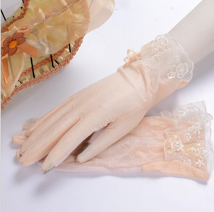 Guantes de protección solar de encaje para mujer, de primavera y verano, anti-uv antideslizante, guantes de conducción, guantes de encaje sexy, guantes de pantalla táctil.