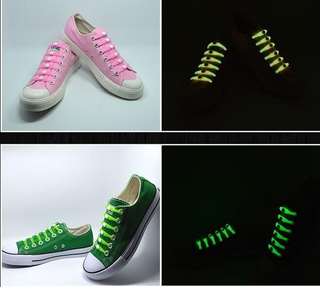 set Christmas Gift No Tie Shoelaces Luminous LED Shoe Laces Disco Party Night Running Flash Light Up Glow Stick Strap Shoelaces