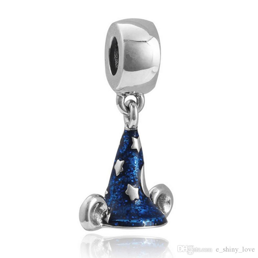 Art- und Weiseblau-Emaille-Stern-Hexen-Hut-Entwurf des Großverkauf-/ baumeln DIY Charme passendes europäisches Armband-Halsketten-niedriger Preis