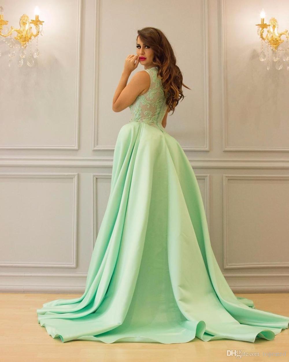 Modest Mint Lange Abendkleider Ballkleid Satin Side Split ärmel Bateau-Ansatz-Spitze arabische Frauen formale Abendkleider Gast-Kleid-Partei