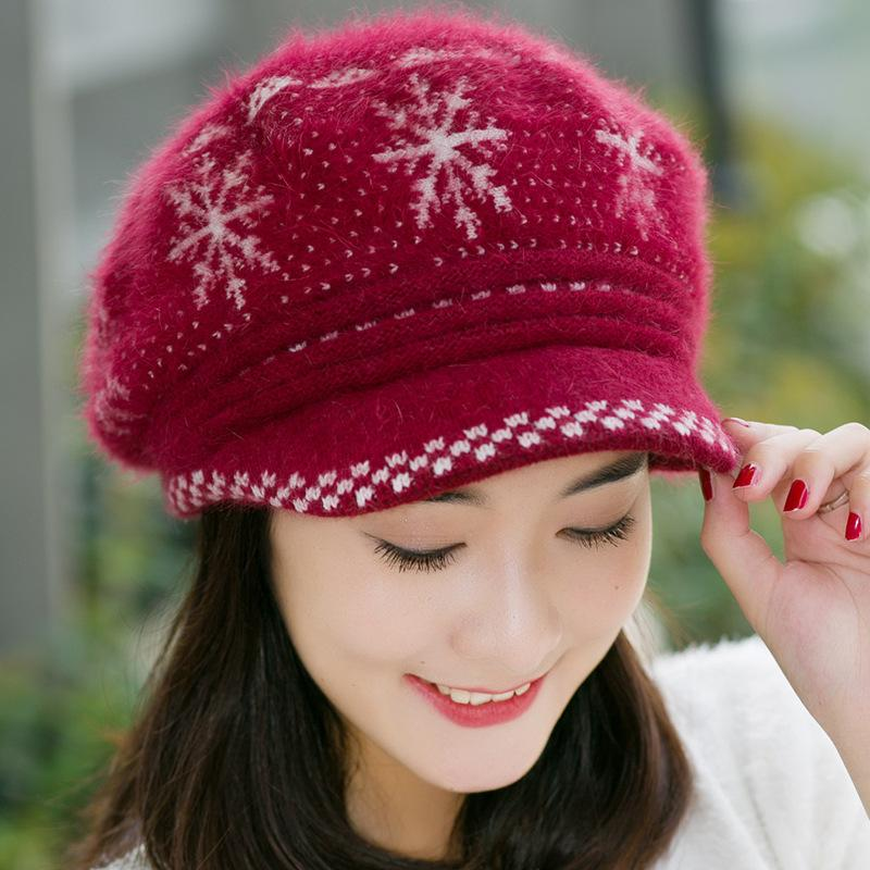 968cd8015d5 Best Wholesale Fashion Snowflake Women Rabbit Fur Beret Hat Fall Winter  Female Warm Knitted Cashmere Wool Stretched Casual Visor Caps Hot Sale  Under  31.37 ...