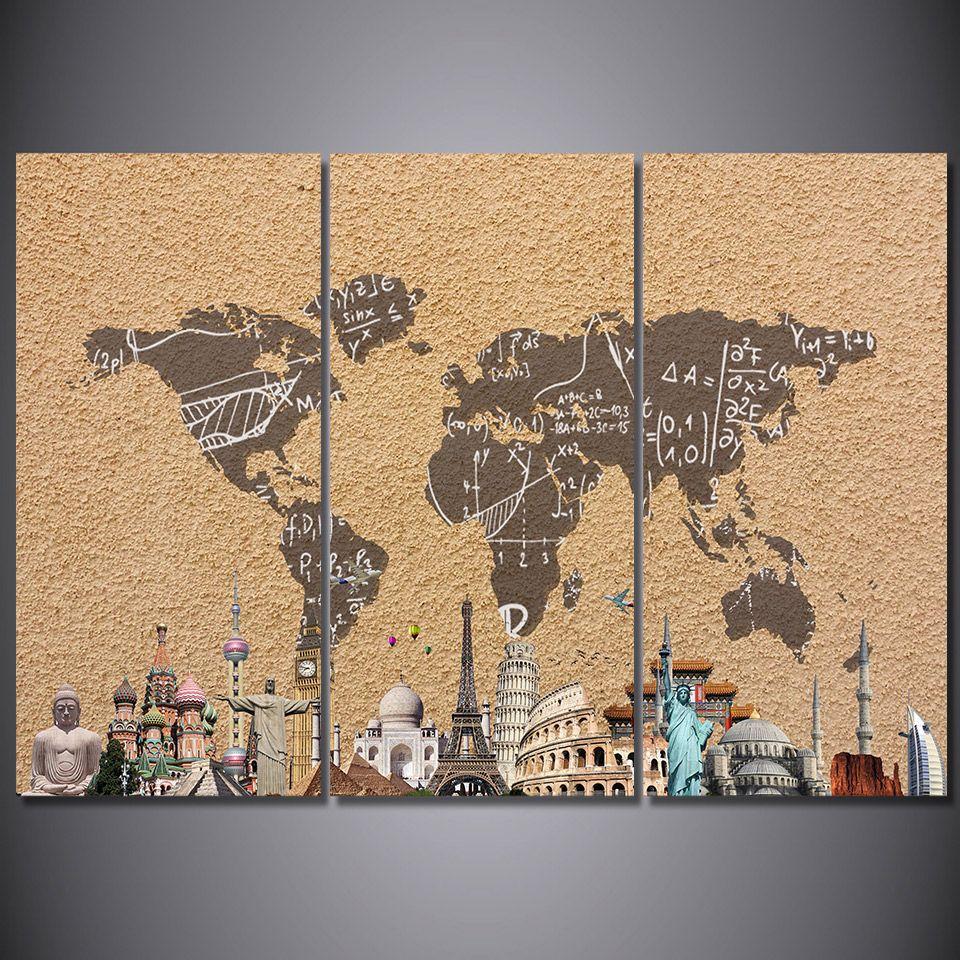 Großhandel 3 Panel Hd Gedruckt Gerahmte Vintage Weltkarte Gebäude ...