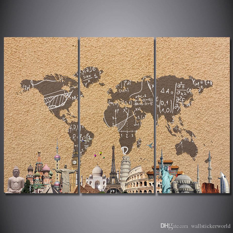 3 panel hd printed framed vintage world map building wall canvas art 3 panel hd printed framed vintage world map building wall canvas art modern print painting poster picture for home decor fine art painting canvas painting gumiabroncs Image collections