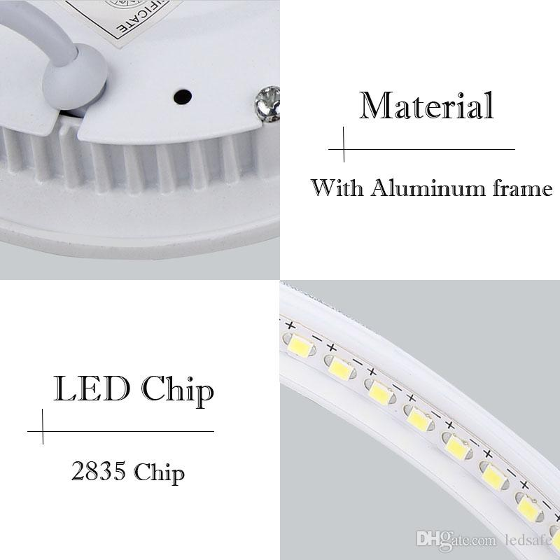 Lámpara de panel LED súper brillante Empotrable Downlights Regulable 3W 6W 9W 12W 15W 18W 24W 24W Luz de techo redonda Forma cuadrada Punto Lampara DHL CE ROSH