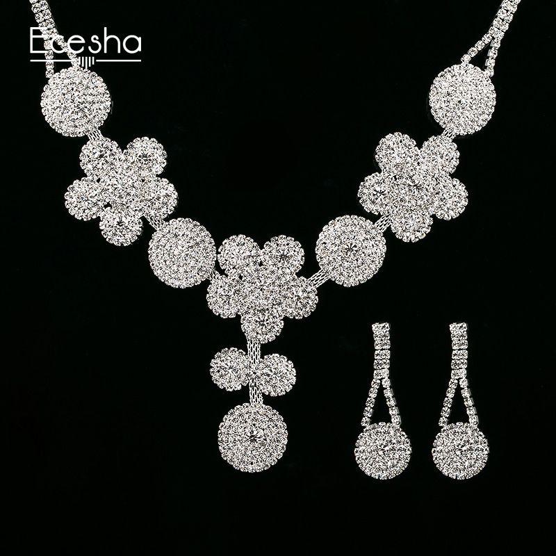 2018 Ecesha Crystal Bridal Jewelry Sets Big Flower Pendant ...