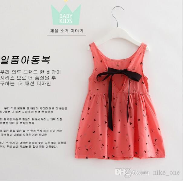 Robes imprimées filles floral coton cerise dos nu robe de plage été mignon bébé été dos nu robe licou enfants robe de fleurs Vintage