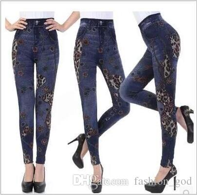 db63368258bc1 2019 Leggings High Waist Denim Jeggings Women Print Winter Tights Fashion  Plus Size Pencil Pants Slim Skinny Pants Casual Stretch Trousers B2620 From  ...